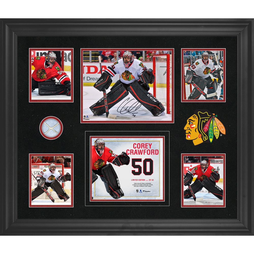 Corey Crawford Chicago Blackhawks Framed Autographed 5-Photo Collage With A Piece Of Game-Used Net - Limited Edition of 50