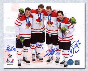 Thornton, Heatley, Marleau, Boyle Autographed Team Canada 8x10 2010 Olympic Gold Photo *San Jose Sharks*