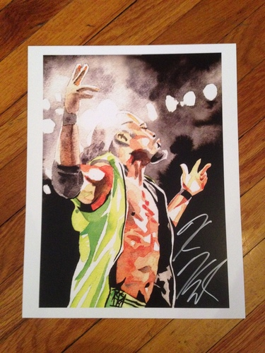 "Photo of Kofi Kingston SIGNED 11"" x 14"" Rob Schamberger Print"
