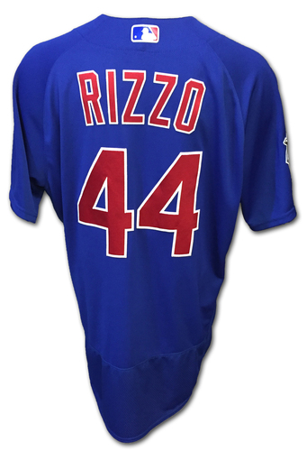 Photo of Anthony Rizzo Game-Used Jersey -- Opening Day 2016 4/4/16 at Los Angeles Angels -- 4/5/16 at Los Angeles Angels (Rizzo Hits 1st HR of Season)