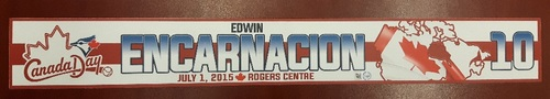 Photo of Authenticated Game Used Locker Tag - #10 Edwin Encarnacion (Canada Day 2015). Encarnacion had HR #17 on the Season