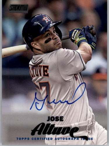 Photo of 2017 Stadium Club Autograph Black Foil #SCAJA Jose Altuve EXCH AUTO 24/25