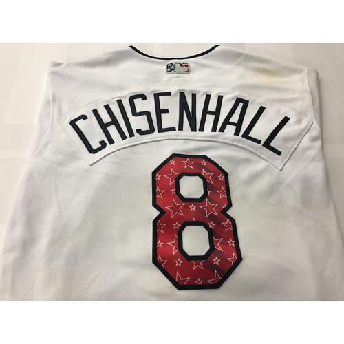 Photo of Lonnie Chisenhall Game Worn Stars & Stripes Jersey