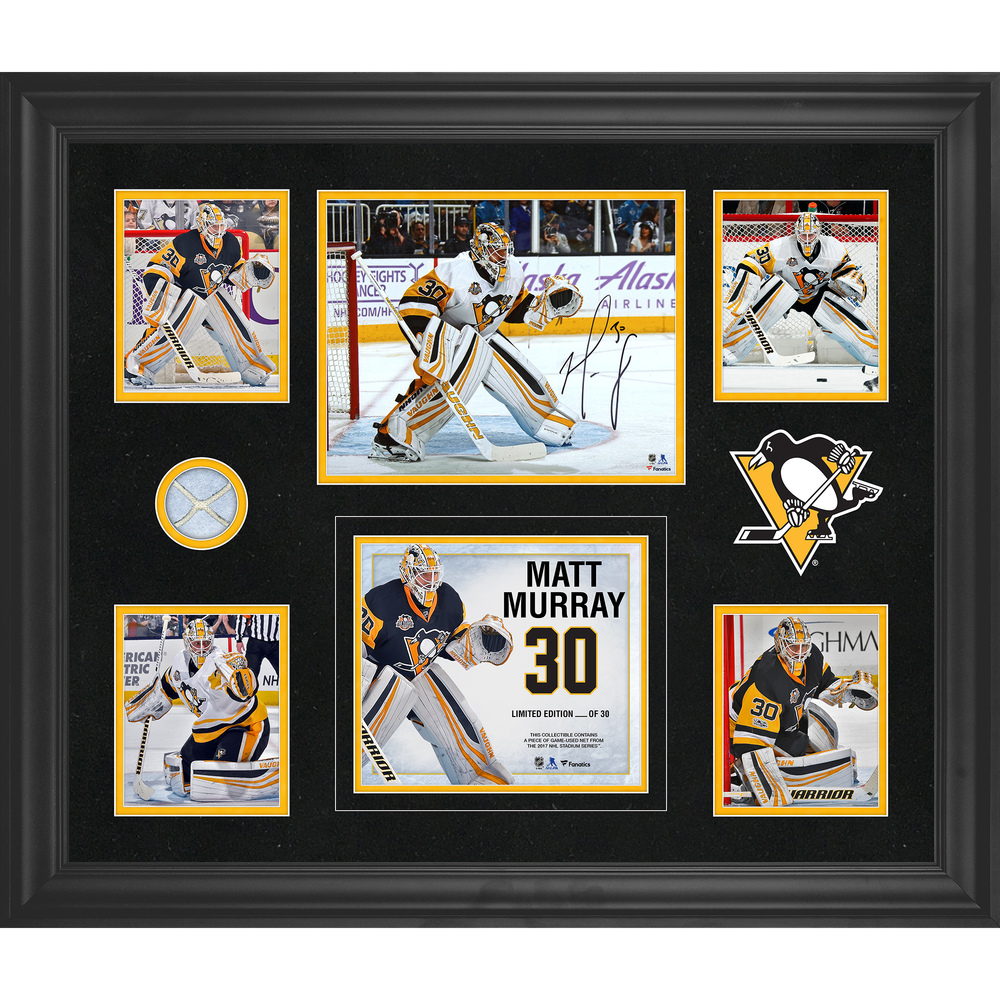 Matt Murray Pittsburgh Penguins Framed Autographed 5-Photo Collage With A Piece Of Game-Used Net - Limited Edition of 30