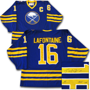 Pat LaFontaine Autographed Buffalo Sabres Jersey w/HOF 03 Inscription