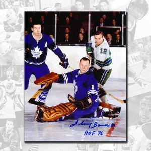 Johnny Bower Toronto Maple Leafs w/ Horton HOF Autographed 8x10