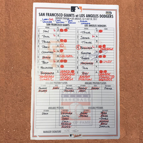 San Francisco Giants - Lineup Card from 7/30/17 - Madison Bumgarner 7 K's plus Hwang vs Ryu