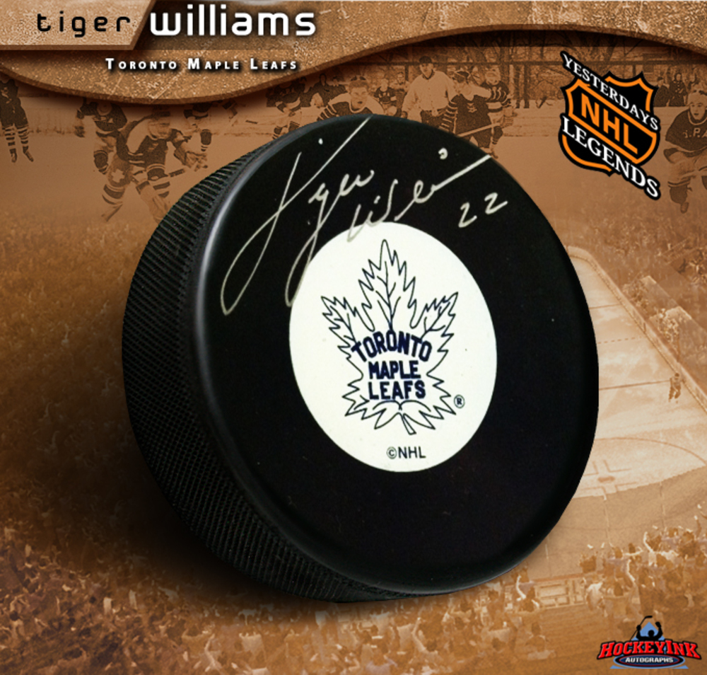 TIGER WILLIAMS Signed Toronto Maple Leafs Original 6 logo Puck