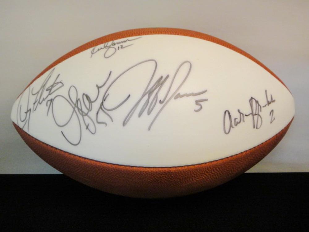 NFL - RICH GANNON DOUG FLUTIE JUNIOR SEAU AARON BROOKS AND JEFF GARCIA SIGNED PANEL BALL