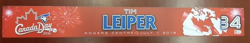 Photo of Authenticated Game Used Locker Tag - #34 Tim Leiper (Canada Day 2016). From the 19 Inning game