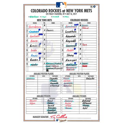 Photo of Game Used Lineup Card - Matz Start; - Mets vs. Rockies - 7/16/17