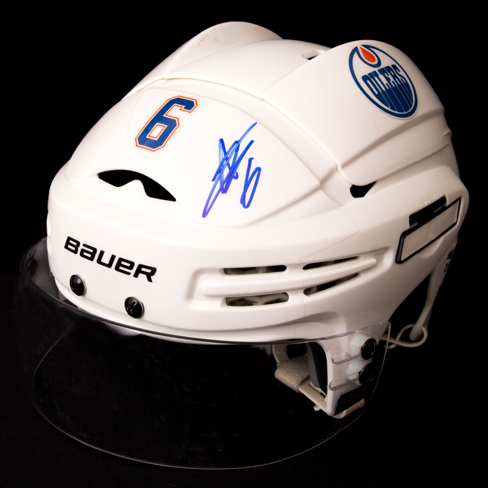 Adam Larsson #6 - Autographed 2016-17 Edmonton Oilers Game-Worn White Bauer Helmet (2nd Half Of Season Including Play-offs)