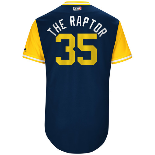 """Photo of Brent """"The Raptor"""" Suter Milwaukee Brewers Team-Issued Players Weekend Jersey"""