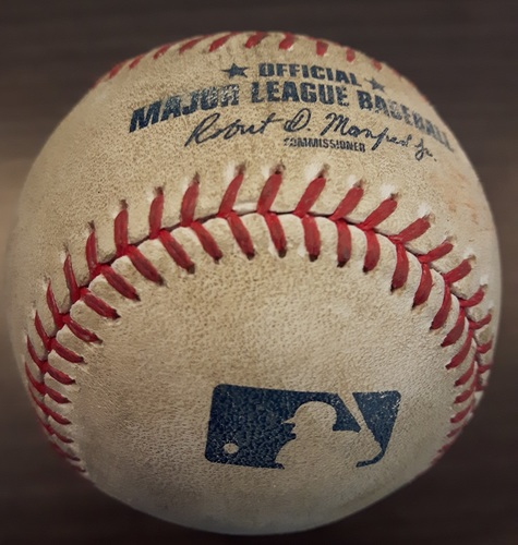 Photo of Authenticated Game Used Baseball - Tim Mayza Strikeout on August 26, 2017 (Top 8 vs Jorge Polanco)