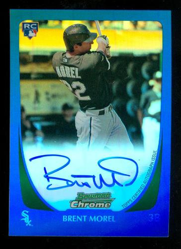Photo of 2011 Bowman Chrome Rookie Autographs Blue Refractors #196 Brent Morel