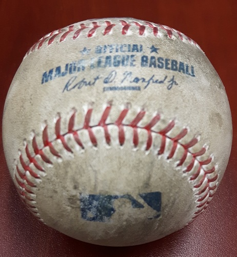 Photo of Authenticated Game Used Baseball (April 13, 2017 vs BAL) - Trey Mancini strikes out swinging.  Changeup by Francisco Liriano (Top 3)