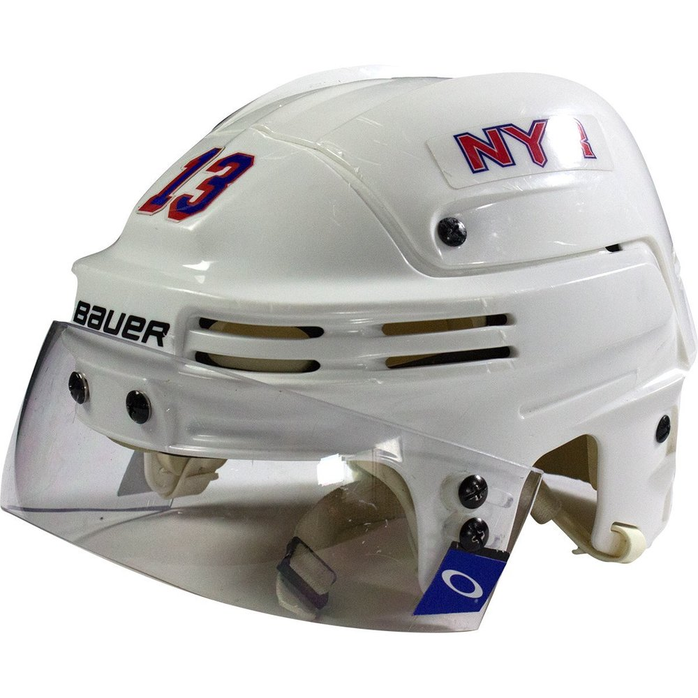 Kevin Hayes New York Rangers 2016-2017 Season Game Used #13 White Helmet w/ 100th Anniversary Sticker
