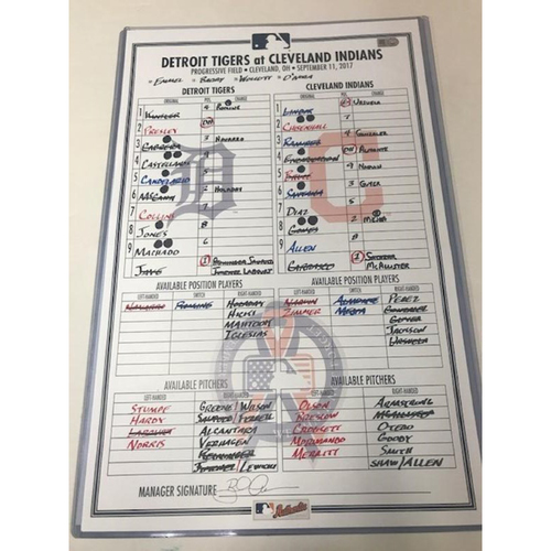 Photo of Game-Used Line-Up Card: Cleveland Wins 19th Game in a Row
