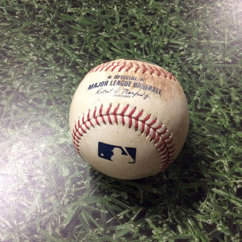 Photo of Game-Used Baseball MIA@MIL 07/02/17 - Junior Guerra to Giancarlo Stanton: Ball 1