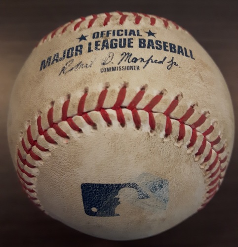 Photo of Authenticated Game Used Baseball - Leonel Campos Strikeout on August 28, 2017 (Top 9 vs Mitch Moreland)
