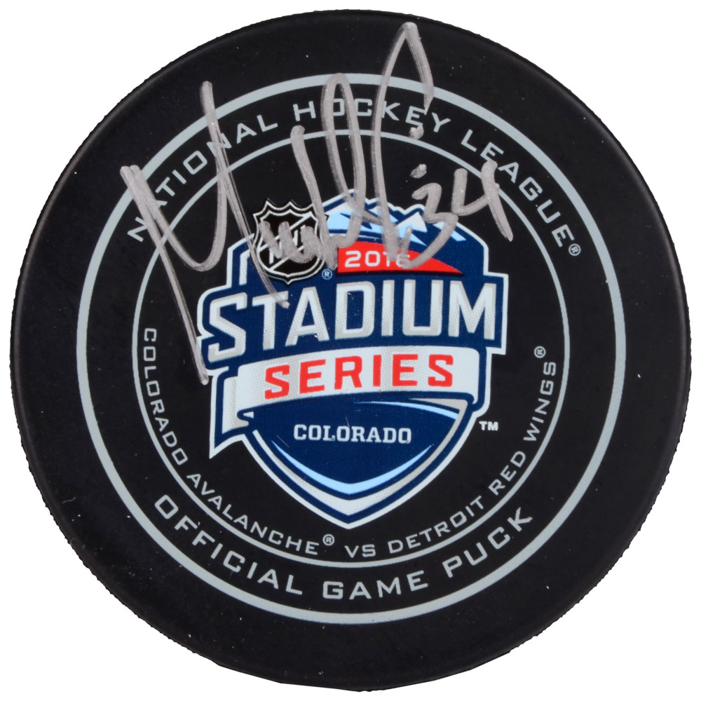 Petr Mrazek Detroit Red Wings Autographed 2016 Stadium Series Official Game Puck