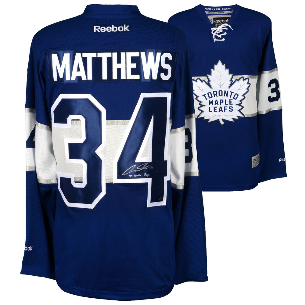 Auston Matthews Toronto Maple Leafs Autographed 2017 Centennial Classic Reebok Premier Jersey with OT GWG 1/1/17 Inscription - #34 of a Limited Edition of 34