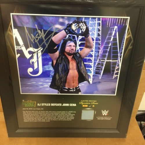 Photo of AJ Styles SIGNED Money In The Bank 2016 15 x 17 Framed Ring Canvas Photo Collage
