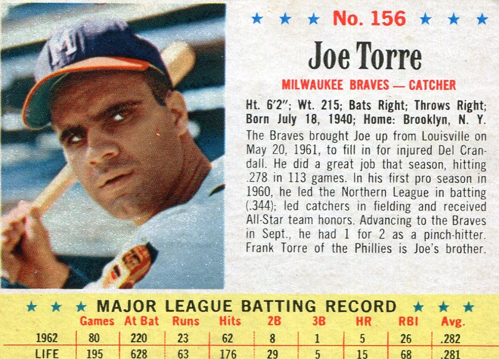 1963 Post #156 Joe Torre -- scrapbook residue on back