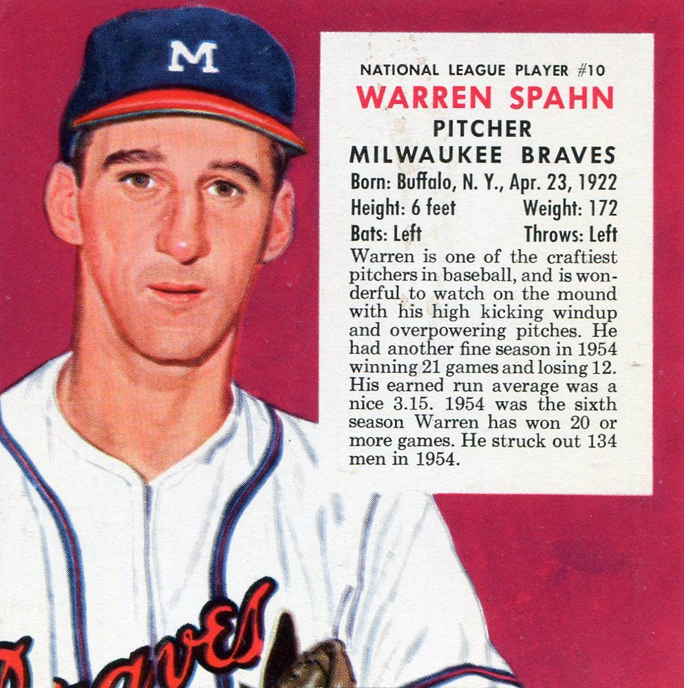1955 Red Man #NL10 Warren Spahn