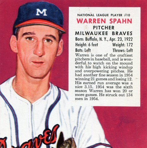 Photo of 1955 Red Man #NL10 Warren Spahn