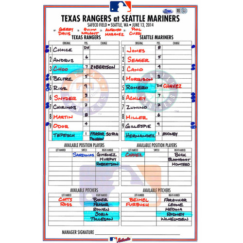 Photo of Texas Rangers Game-Used Lineup Card vs. Seattle Mariners on June 13, 2014