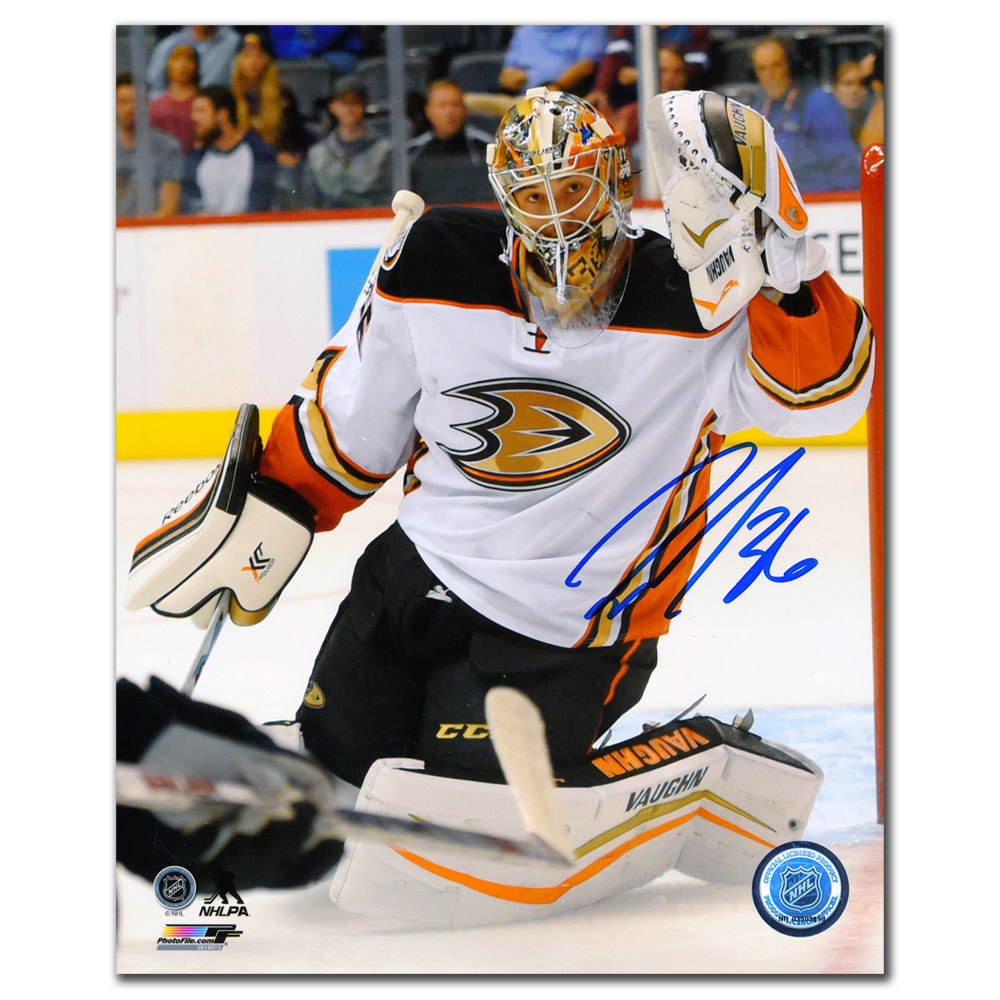 John Gibson Anaheim Ducks GLOVE SAVE Autographed 8x10
