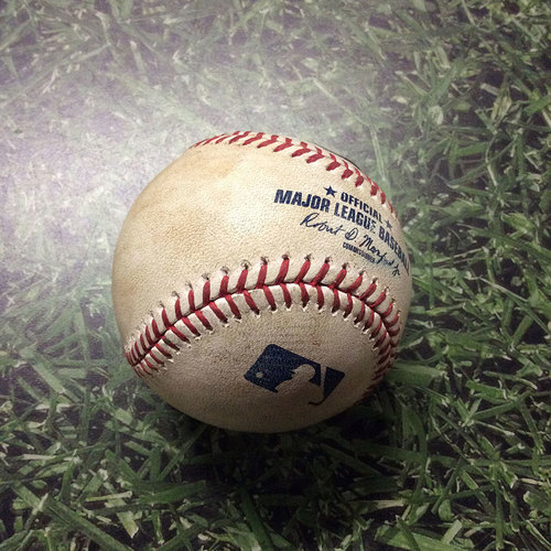 Photo of Game-Used Baseball LAD@MIL 06/03/17 - Wily Peralta to Corey Seager: Foul Ball