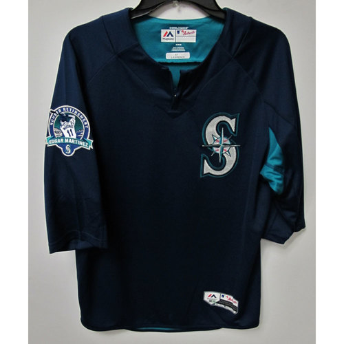 Photo of Casey Lawrence Game-Used BP Jersey With Edgar Martinez Patch Worn 8-12-2017
