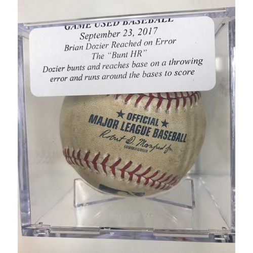 "Photo of Game-Used Baseball: Brian Dozier Reach on Error ""Bunt Home Run"""
