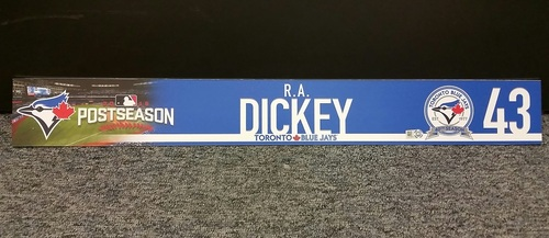 Photo of Authenticated Game Used 2016 A.L Wild Card Locker Tag - #43 R.A Dickey