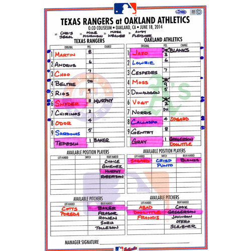 Photo of Texas Rangers Game-Used Lineup Card vs. Oakland Athletics on June 18, 2014