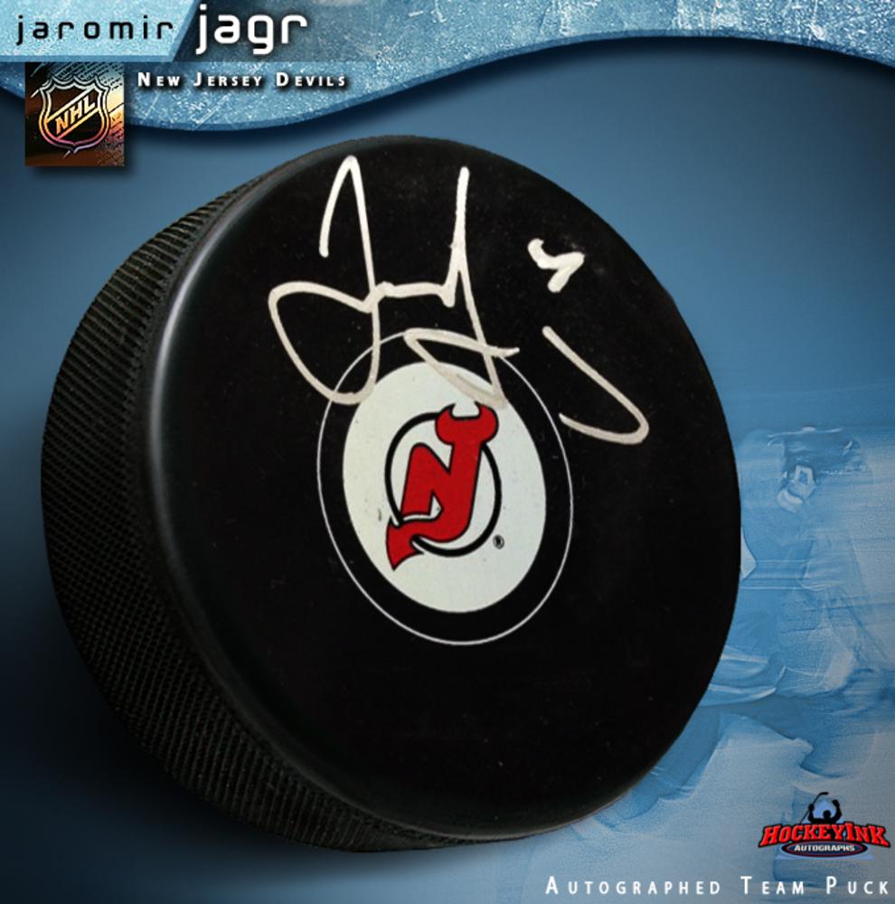 JAROMIR JAGR Signed New Jersey Devils Puck