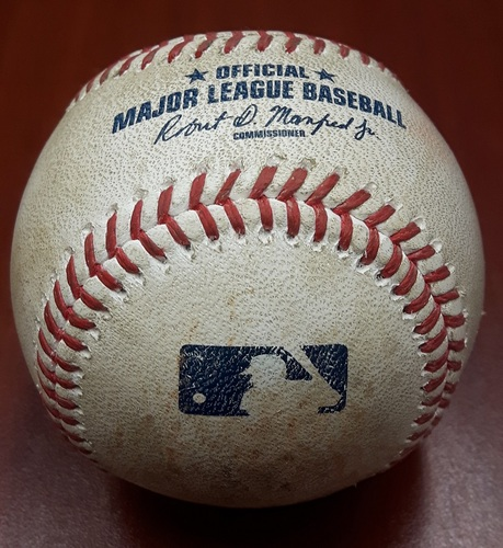 Photo of Authenticated Game Used Baseball (May 8, 2016 vs CLE) - Edwin Encarnacion Single (2nd inning, 1st pitch off of Marcus Stroman) - This was Encarnacion's 1st game back and 1st pitch seen at the Rogers Centre since signing with Cleveland in Free Agency