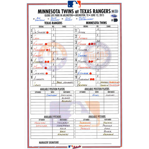 Photo of Texas Rangers Game-Used Lineup Card vs. Minnesota Twins on June 13, 2015. Rangers 11-7 Victory, Gallo and Moreland HR's