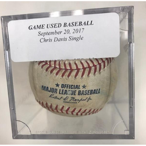 Photo of Game-Used Baseball Khris Davis Single