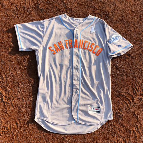 Photo of San Francisco Giants - HOLIDAY STEALS - 2017 Game-Used Jersey - worn by #35 Brandon Crawford on 6/17/17 & 6/18/17 - 3-5, 1 HR, 3 RBI, 1 R - (Size: 48)