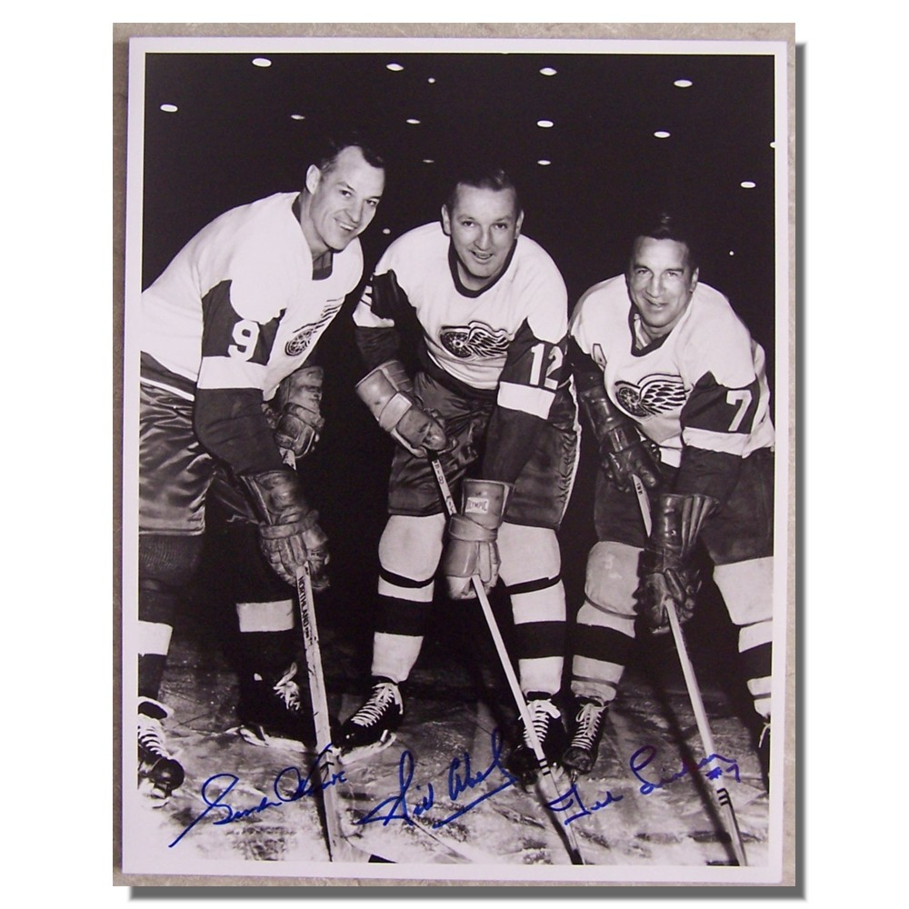 Gordie Howe, Ted Lindsay and Sid Abel Autographed 11x14 Photo