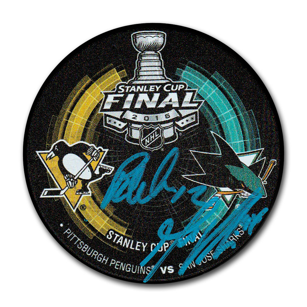 Patrick Marleau & Marc-Edouard Vlasic Autographed 2016 Stanley Cup Final Dueling Puck