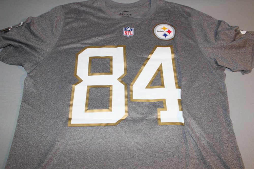 NFL - STEELERS ANTONIO BROWN 2016 PRO BOWL LIGHT GRAY T-SHIRT WITH NAME AND NUMBER - SIZE L