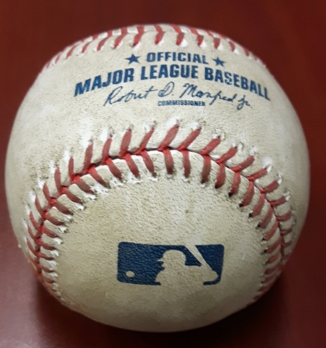 Photo of Authenticated Game Used Baseball (April 13, 2017 vs BAL) - Troy Tulowitzki singles on a ground ball to left fielder Craig Gentry.  Two-Seam Fastball by Zach Britton (Bot 9)