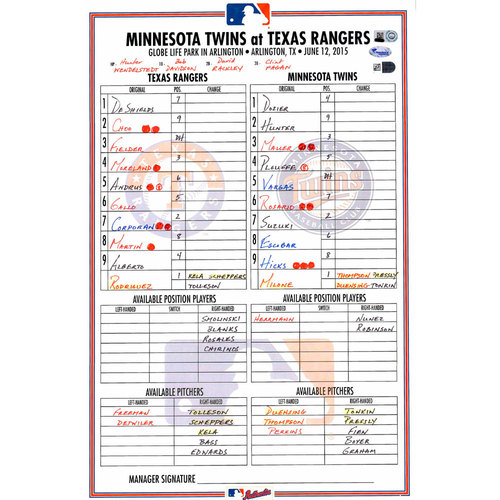 Photo of Texas Rangers Game-Used Lineup Card vs. Minnesota Twins on June 12, 2015. Rangers 6-2 Victory