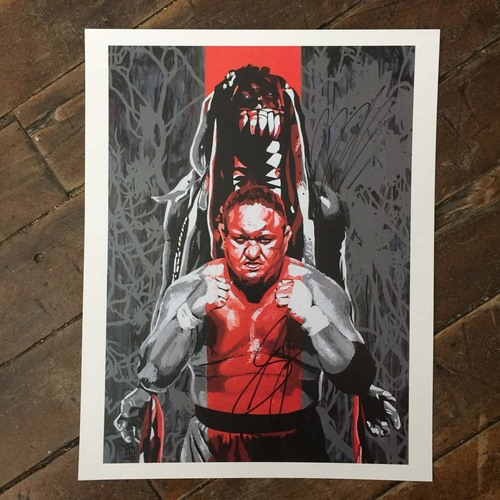 Photo of Finn Balor & Samoa Joe SIGNED 11 x 14 Rob Schamberger Print