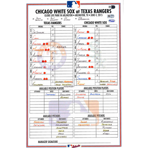 Photo of Texas Rangers Game-Used Lineup Card vs. Chicago White Sox on June 4, 2015. Choo Walk Off 11th inning Single