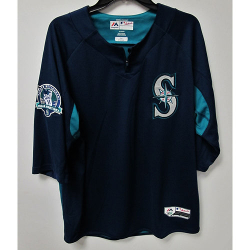 Photo of Emilio Pagan Game-Used BP Jersey With Edgar Martinez Patch Worn 8-12-2017